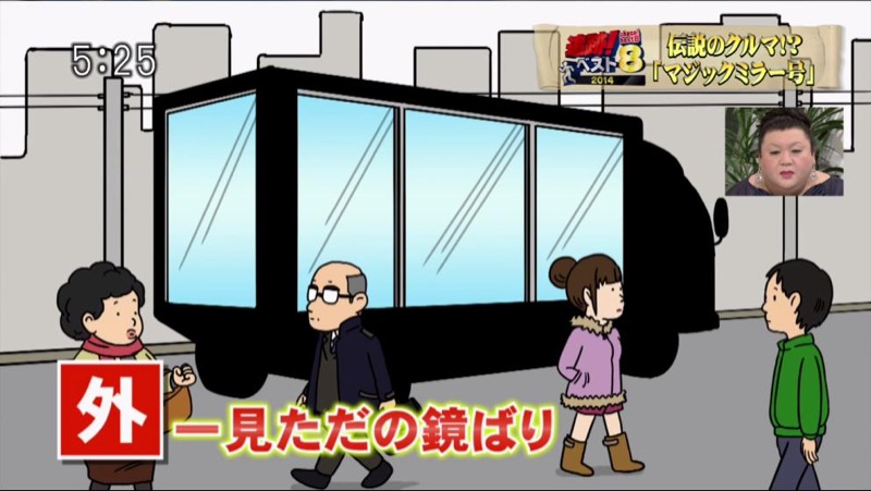 Jeu porno japonais dans un camion à miroir sans tain