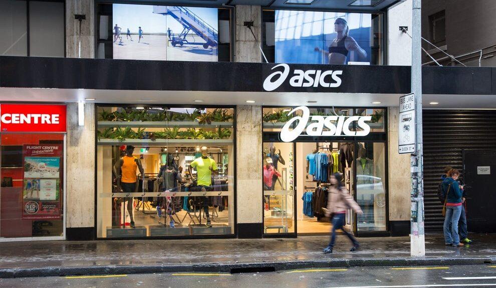 Le grand écran à l'extérieur de ce magasin Asics a été détourné par des pirates informatiques (Asics Nouvelle-Zélande)